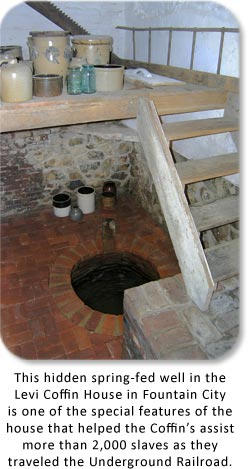 Hidden Well in the Levi Coffin House in Fountain City, Indiana.  Click for more details.