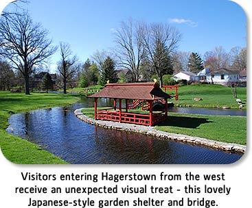 Visitors entering Hagerstown from the west receive an unexpected visual treat - this lovely Japanese-style garden shelter and bridge.