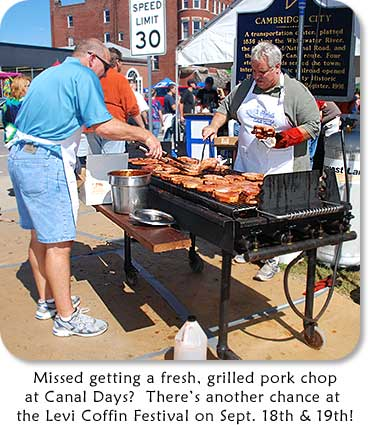 Cooking BBQ Pork Chops at Cambridge City Canal Days.