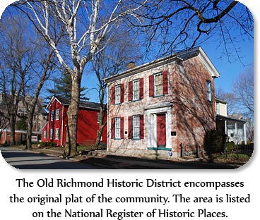 The Old Richmond Historic District encompasses the original plat of the community.  The area is listed on the National Register of Historic Places.