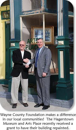 Photo: Joe Smith & Steve Borchers Text: Wayne County Foundation makes a difference in our local communities!  The Hagerstown Museum and Arts Place recently received a grant to have their buidling repainted.