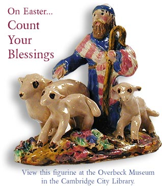 "Photo: Overbeck Figurine of Shepherd with Lambs.  ""On Easter...Count Your Blessings."""