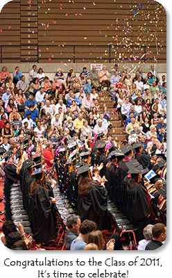 Photo: IU East Graduation. Caption: Congratulations to the Class of 2011.  It's time to celebrate!