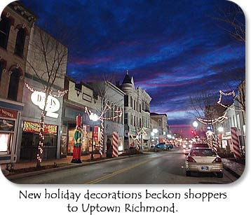 New holiday decorations beckon shoppers to Uptown Richmond.