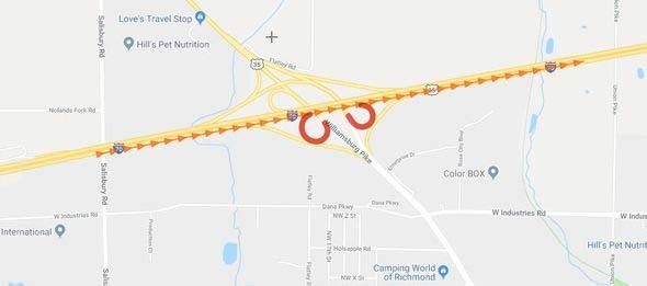 Supplied Graphic: I-70 Ramp Closures