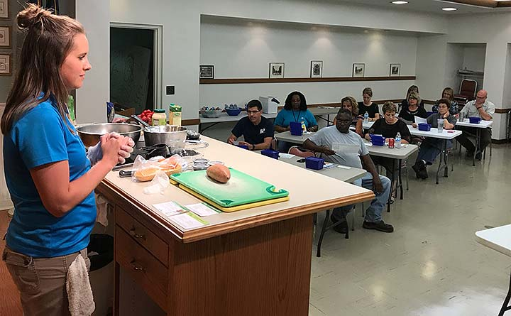 Supplied Photo: Jennifer Stachler, registered dietitian, conducts a healthy cooking demonstration for Richmond Power & Light employees.