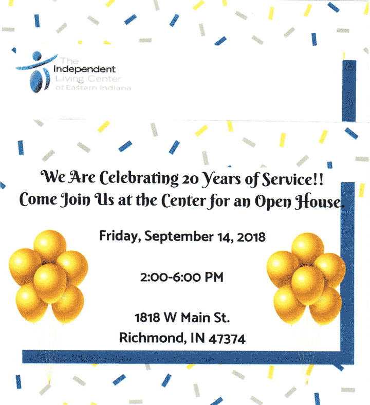 Flyer: Independent Living Center Open House on 9/14/2018