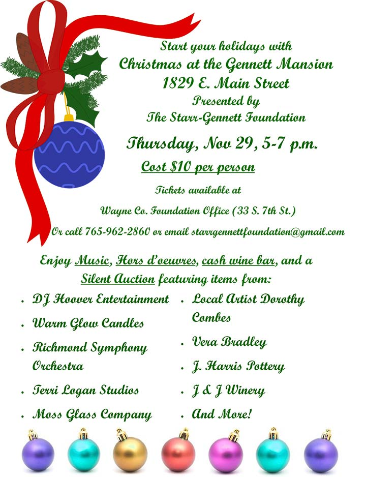 Supplied Flyer: Christmas at the Gennett Mansion