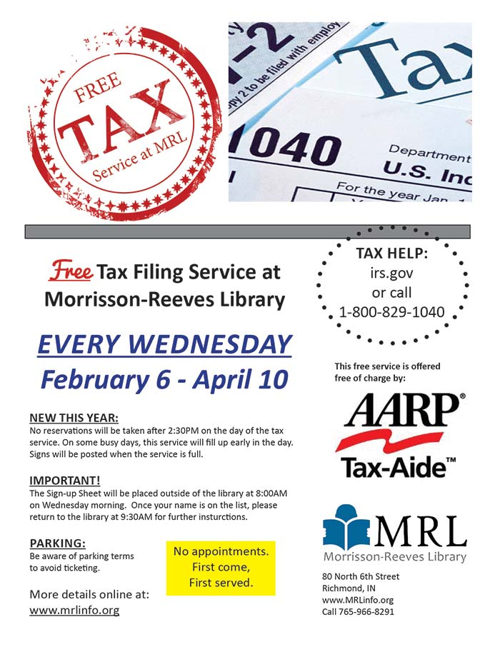 Supplied Flyer: Free Tax Service at MRL