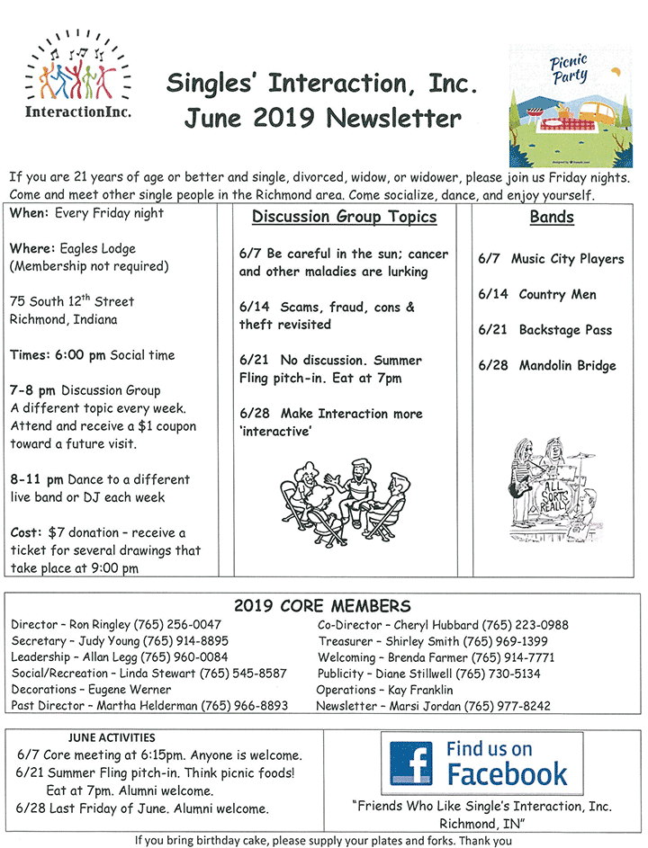 Supplied Flyer: June 2019 Singles Interaction Newsletter