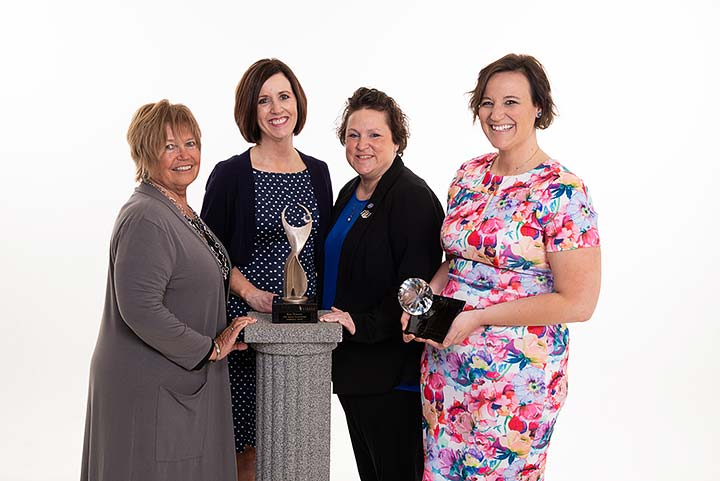 Supplied Photo: ATHENA Leadership Award® finalists are (left to right) Rhonda Duning, Melissa Vance and Jennifer Feaster. Ashley Sieb (far right) is the recipient of the ATHENA Young Professional Leadership Award.
