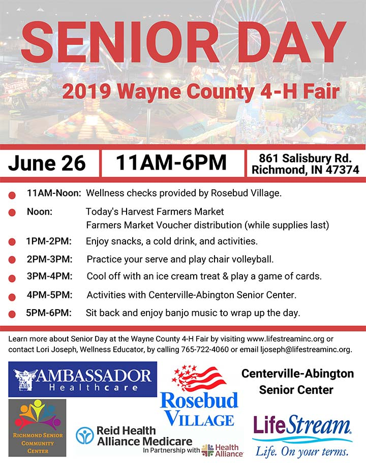 Supplied Flyer: Senior Day at the Wayne County, IN 4-H Fair