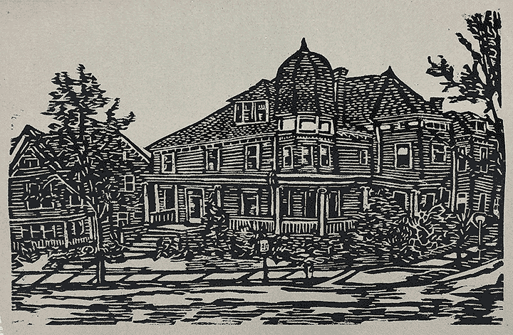 "Supplied Art: 2116 East Main Street"" Woodcut print by Robin Nicholson"