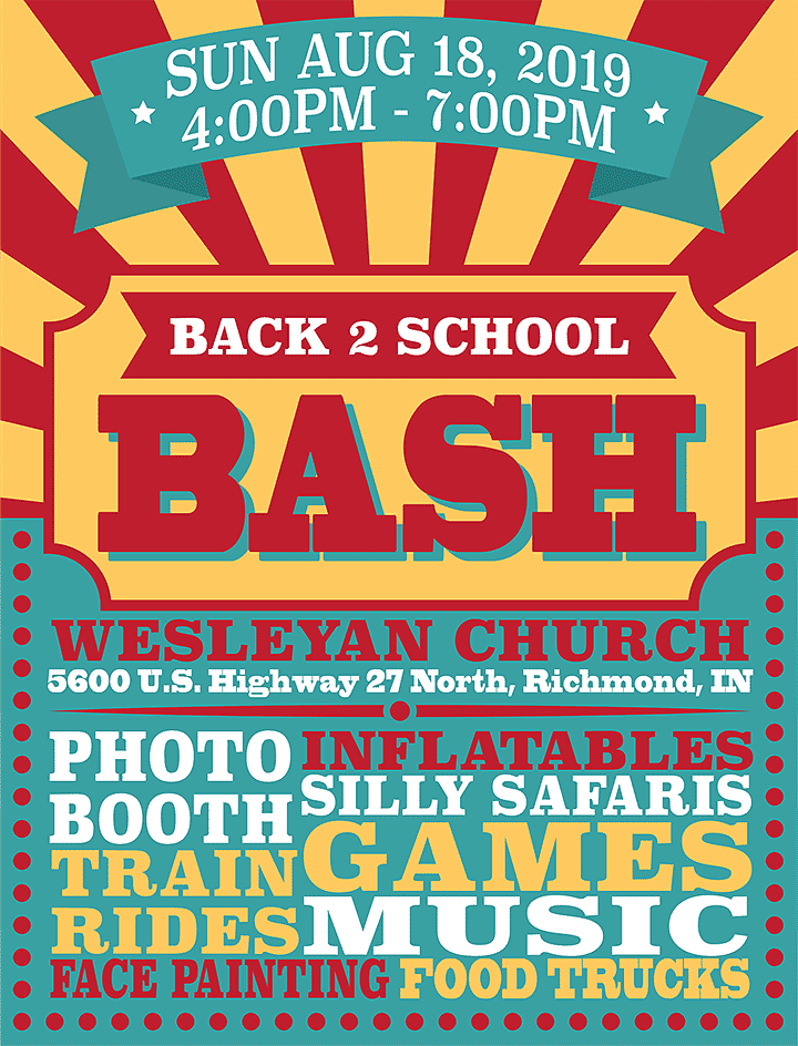Flyer: Back to School Bash at the Wesleyan Church