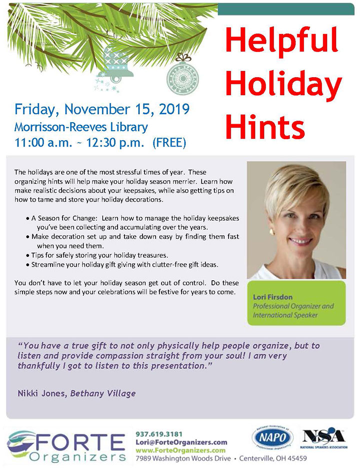 Supplied Flyer: Helpful Holiday Hints
