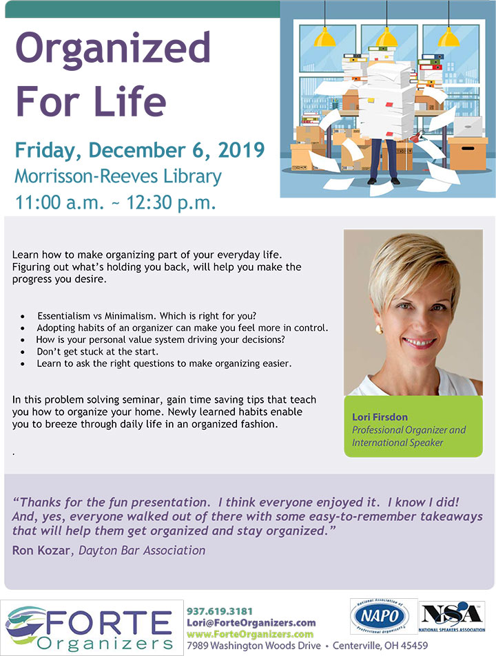 Supplied Flyer: Organized for Life