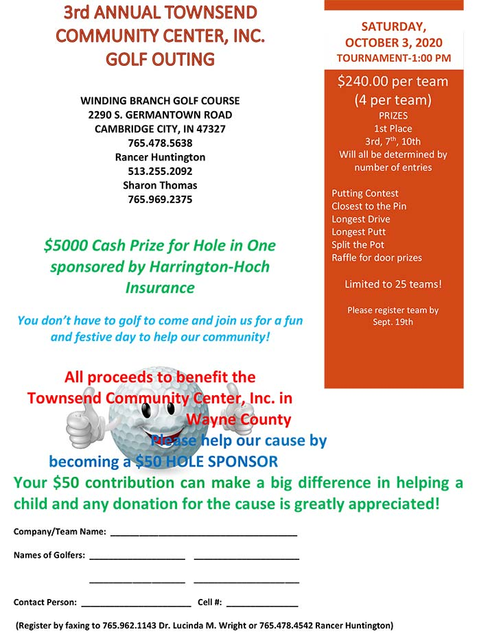 Supplied Flyer: 3rd Annual Townsend Center Golf Outing