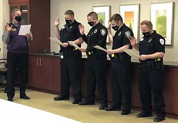 Supplied Photo:  Reid Health newest graduates of the Indiana Law Enforcement Academy, Officers Jeramiah Lawson, Jeremy Hicks, Dillon Pitcher, and David Jones, were sworn in on Dec. 28.